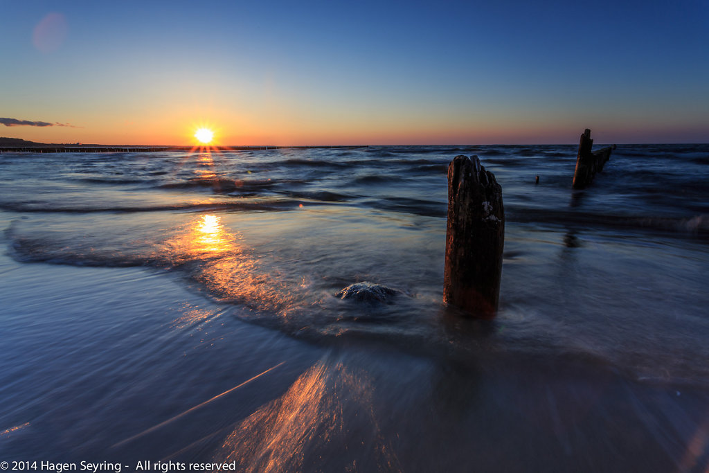 Sunset on the beach of Koserow, Usedom