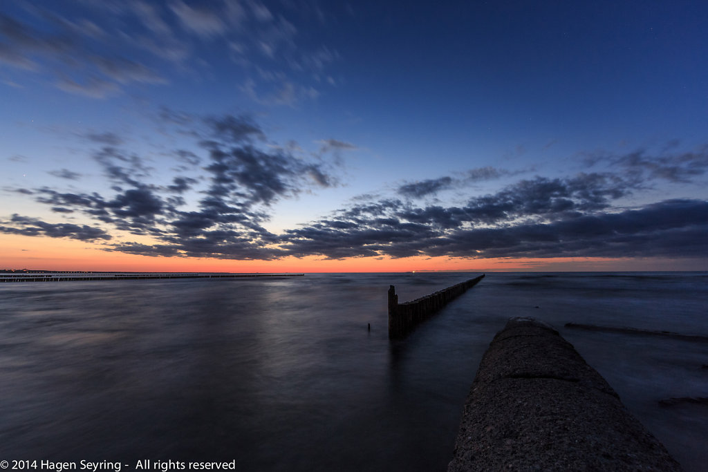After sunset on beach of Koserow