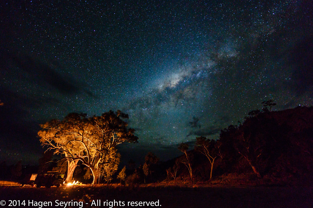 Our campsite under the milky way