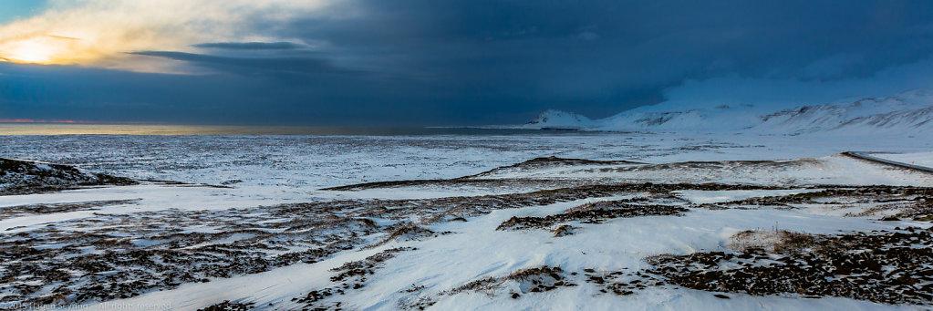 Ice desert on lava stones