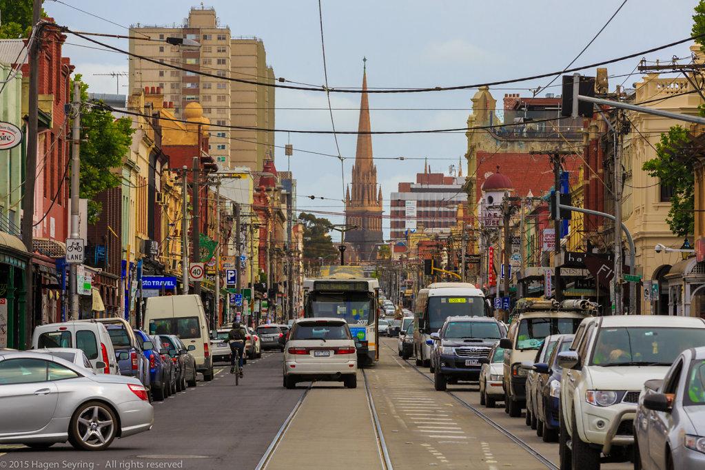 Busy Brunswick Street in Melbourne