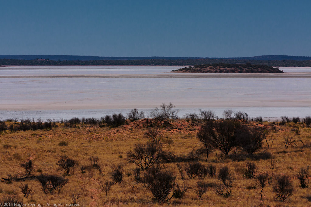 Dried-out salt lake on the Lasseter Highway