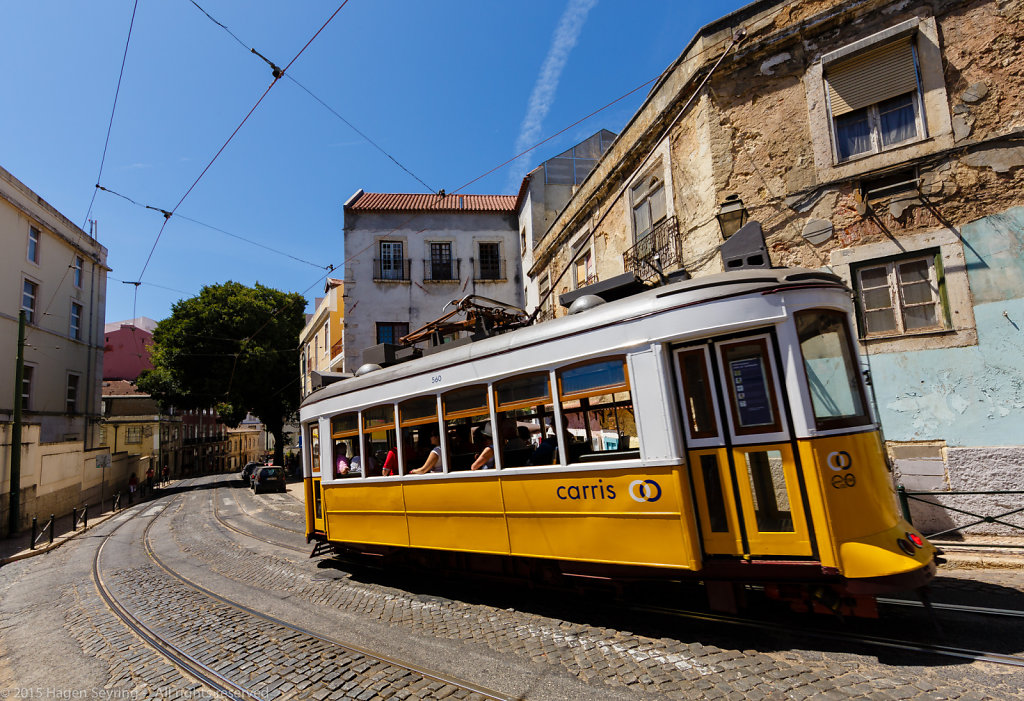 Tramway in the Alfama, Lisbon
