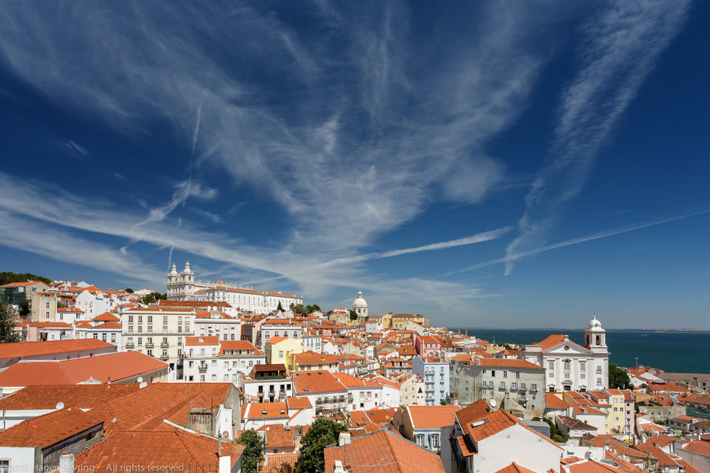 View over the roofs of the historic district Alfama of Lisbon