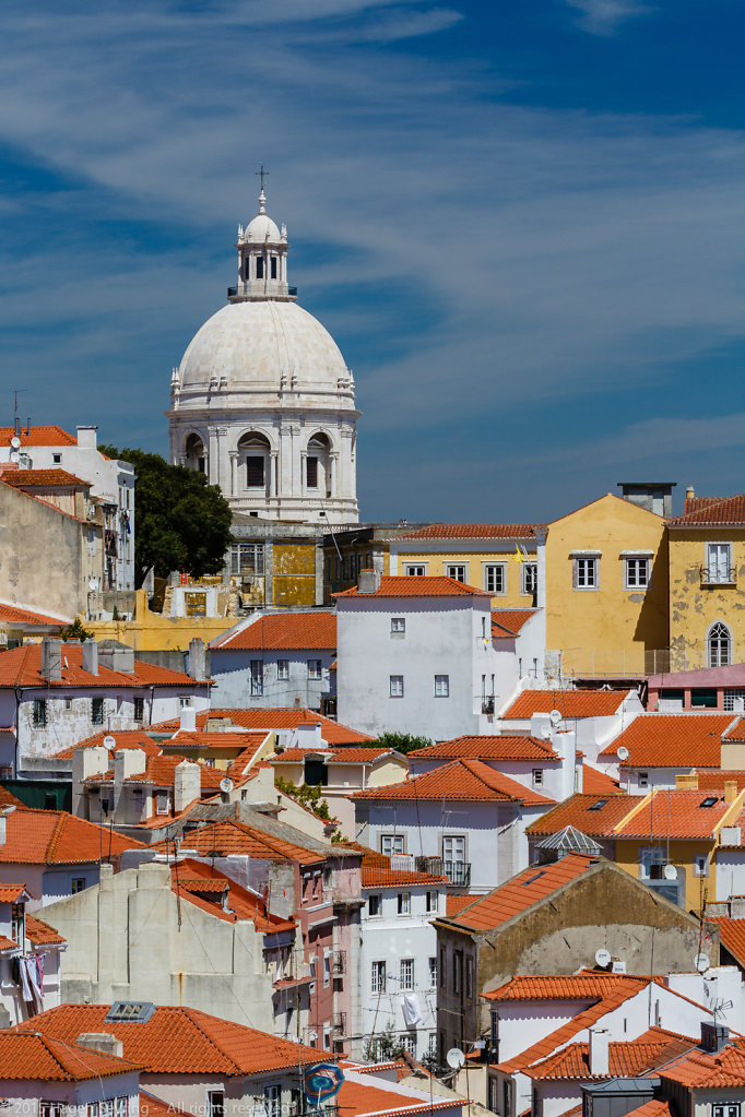 View over the roofs of the historic district Alfama
